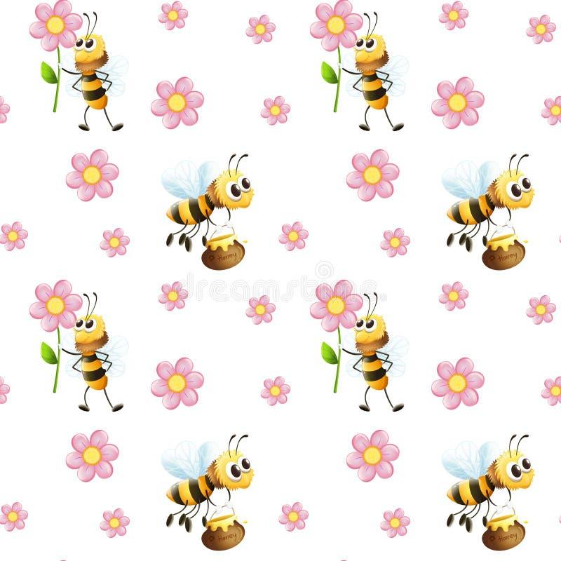 Άνευ ραφής σχέδιο με τις μέλισσες και τα λουλούδια ελεύθερη απεικόνιση δικαιώματος