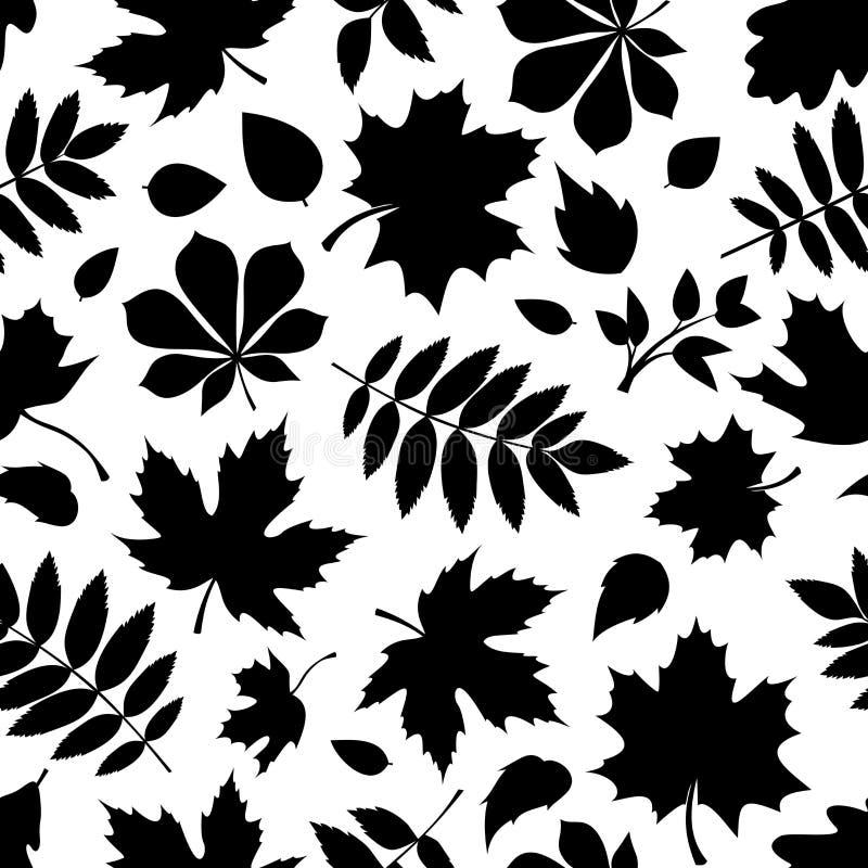 Άνευ ραφής σχέδιο με τις μαύρες σκιαγραφίες των φύλλων φθινοπώρου στο λευκό διανυσματική απεικόνιση