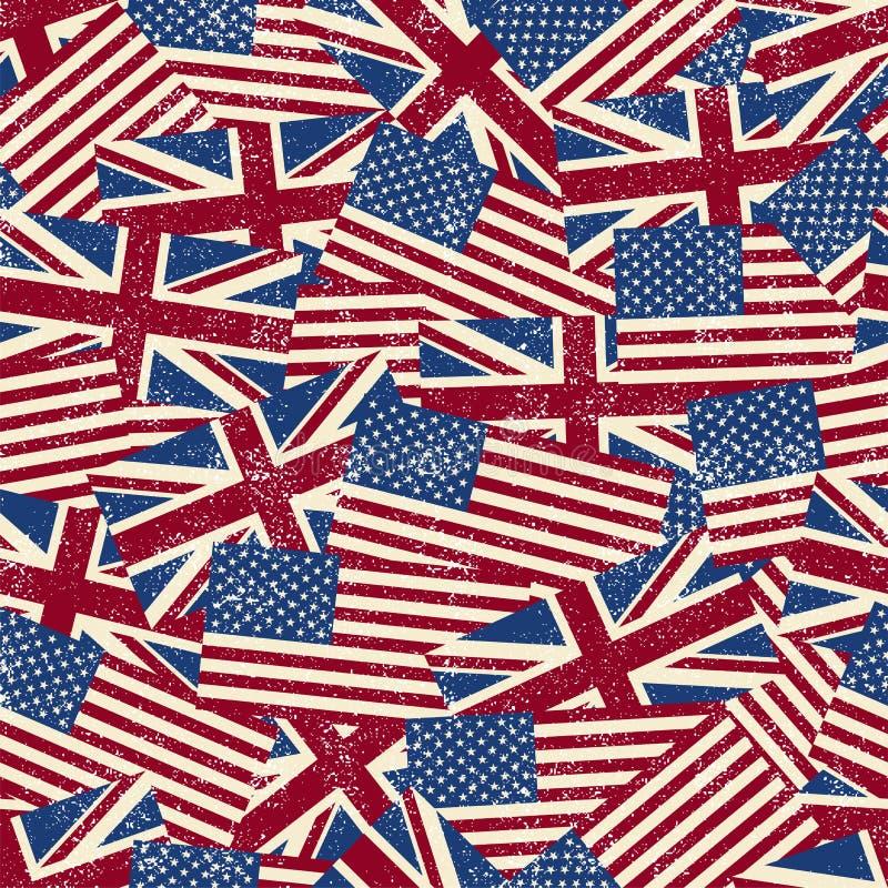 Άνευ ραφής σχέδιο με τις σημαίες επίσης corel σύρετε το διάνυσμα απεικόνισης απεικόνιση αποθεμάτων