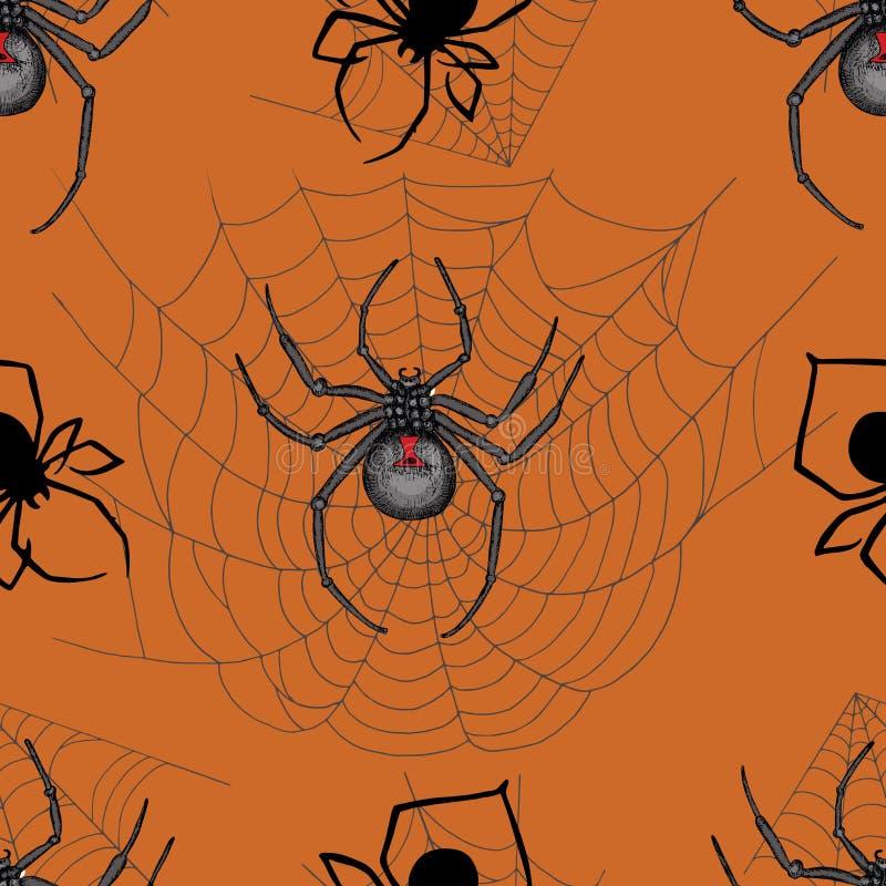 Άνευ ραφής σχέδιο με τις τρομακτικές αράχνες διανυσματική απεικόνιση
