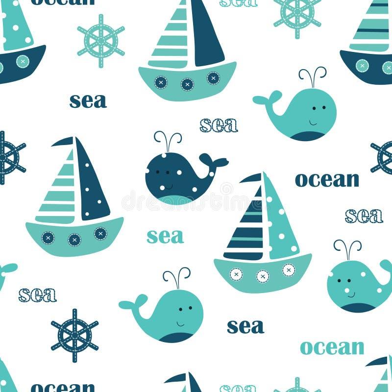 Άνευ ραφής σχέδιο με τις φάλαινες, τα πλέοντας σκάφη και την εγγραφή ελεύθερη απεικόνιση δικαιώματος