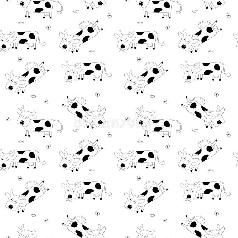 Άνευ ραφής σχέδιο με τις χαριτωμένες αγελάδες διανυσματική απεικόνιση
