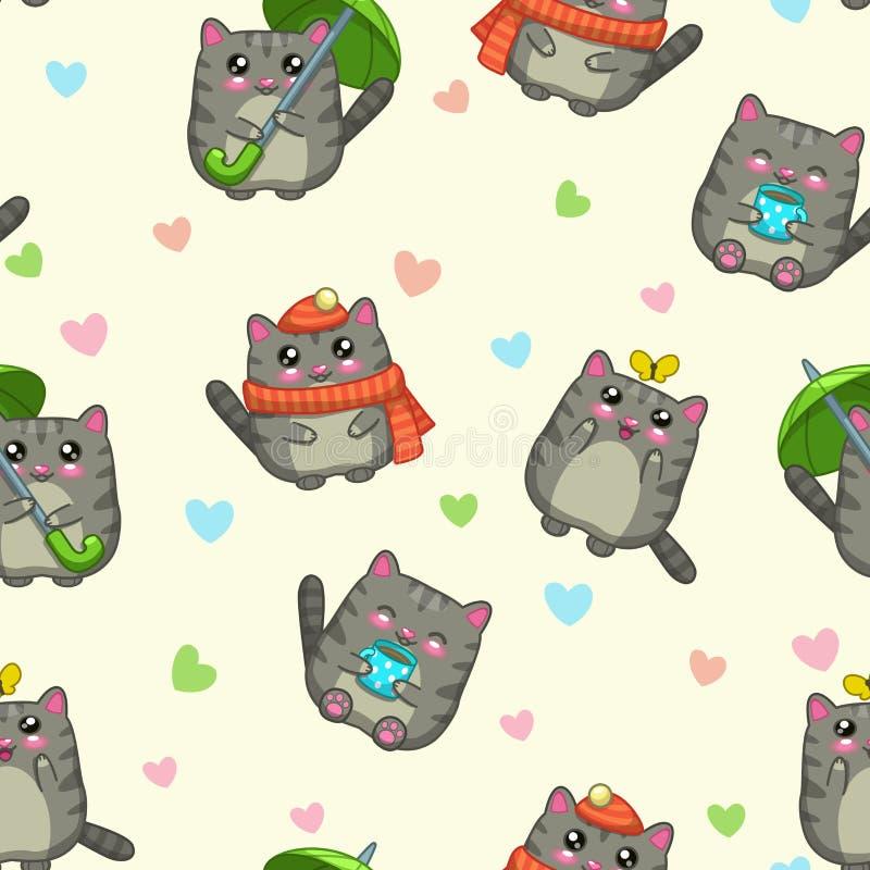 Άνευ ραφής σχέδιο με τις χαριτωμένες γκρίζες γάτες κινούμενων σχεδίων διανυσματική απεικόνιση
