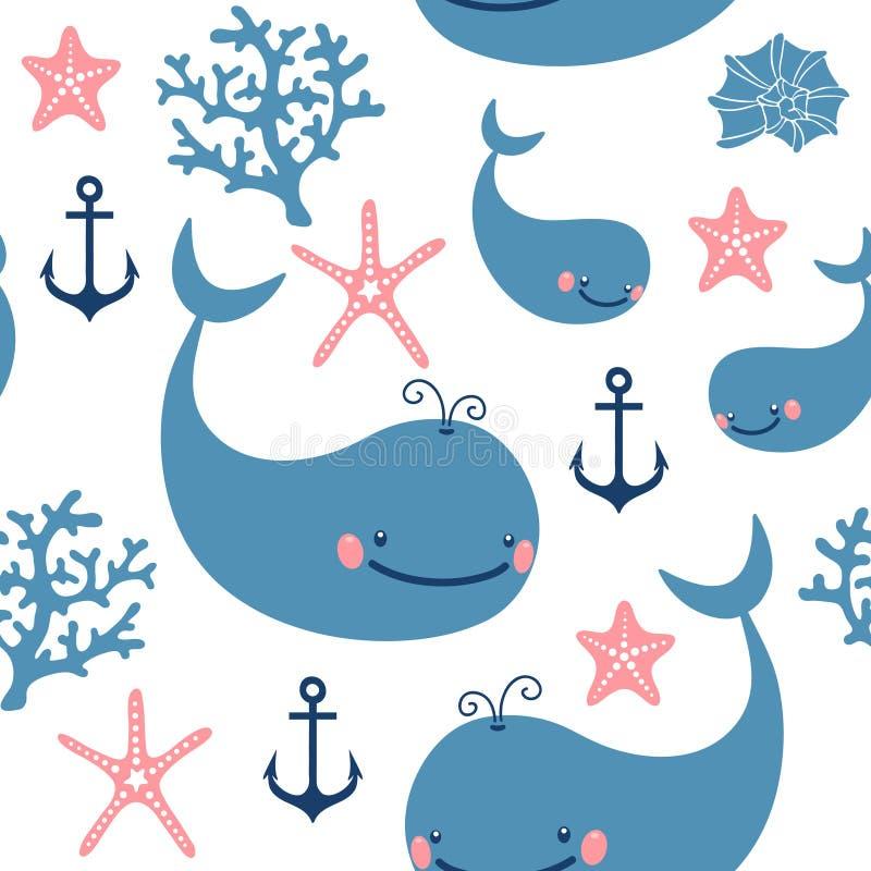 Άνευ ραφής σχέδιο με τις χαριτωμένες φάλαινες ελεύθερη απεικόνιση δικαιώματος