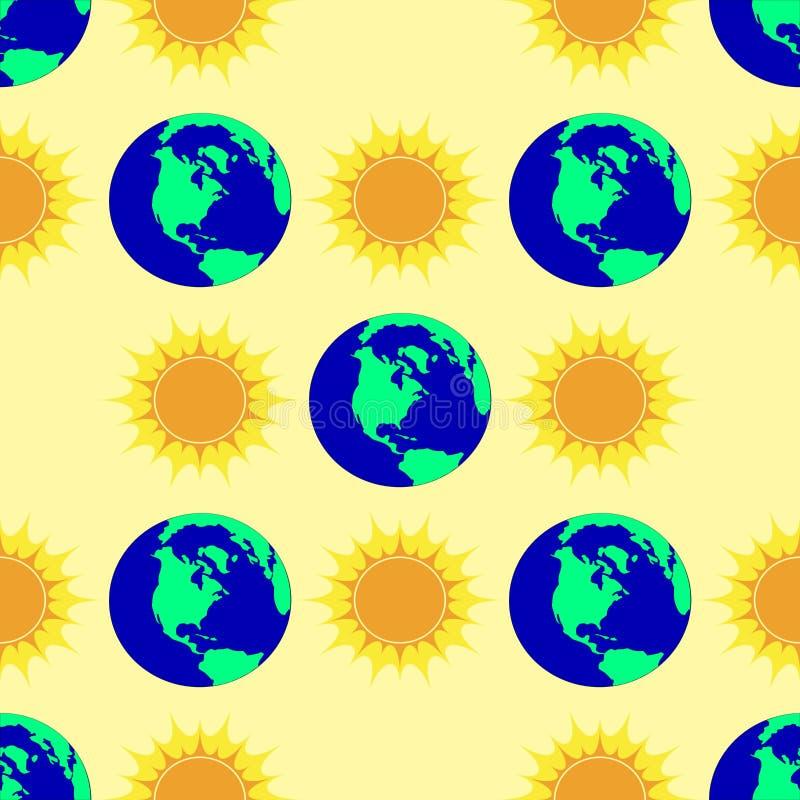 Άνευ ραφής σχέδιο με τον ήλιο και τη γη διανυσματική απεικόνιση