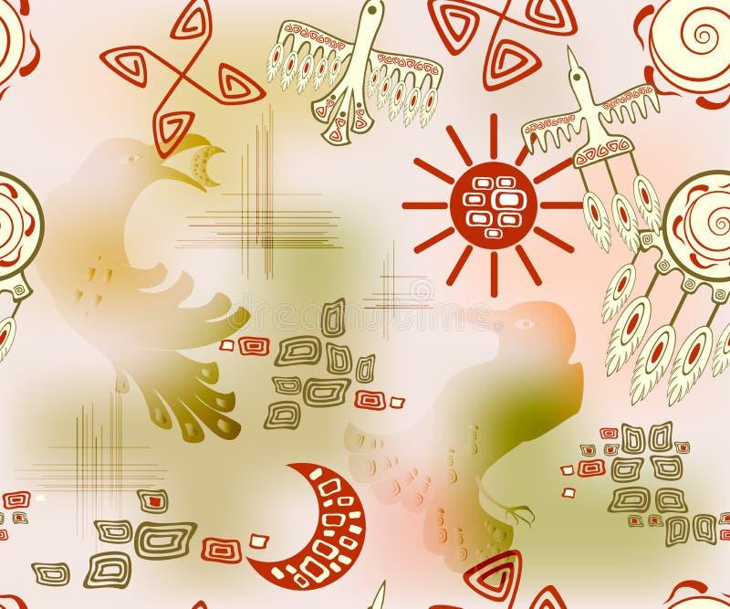 Άνευ ραφής σχέδιο με τον εθνικούς ινδικούς ήλιο και τον ουρανό συμβόλων EPS10 διανυσματική απεικόνιση διανυσματική απεικόνιση