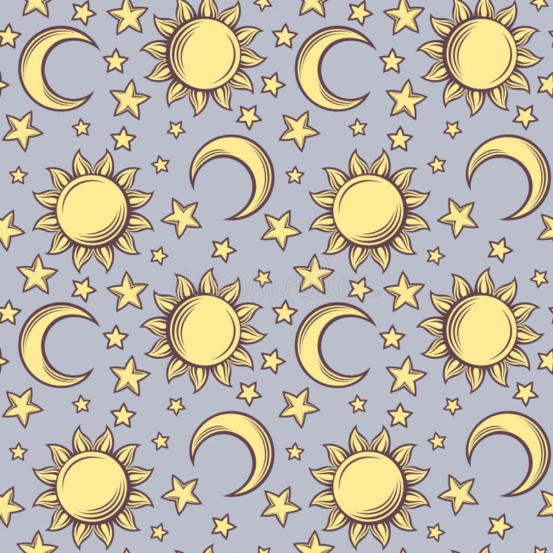 Άνευ ραφής σχέδιο με τους ήλιους, τα φεγγάρια και τα αστέρια. ελεύθερη απεικόνιση δικαιώματος