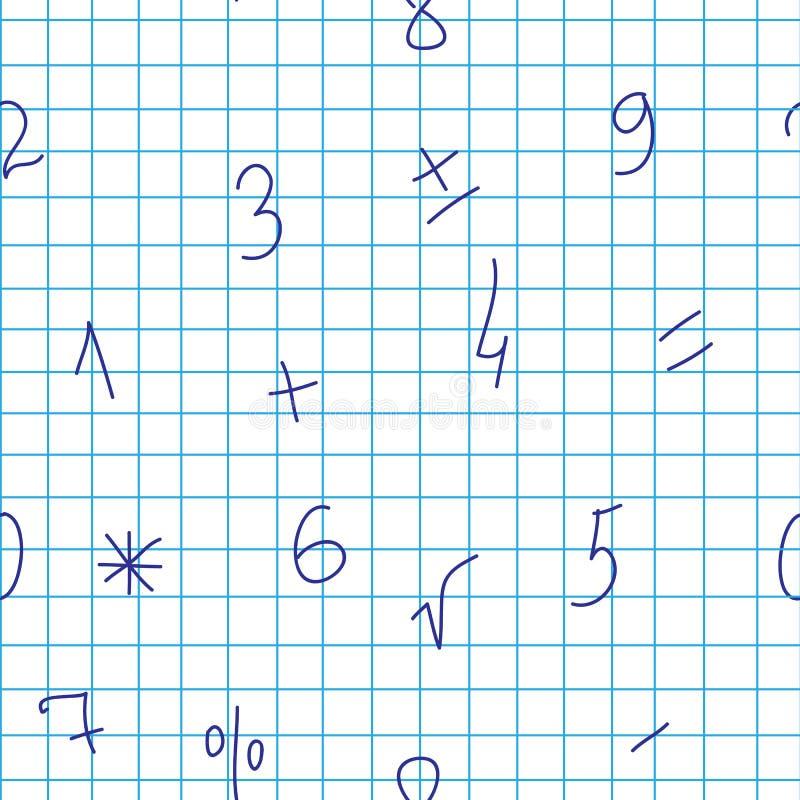 Άνευ ραφής σχέδιο με τους αριθμούς σε ένα σημειωματάριο σε ένα κλουβί Διανυσματική ανασκόπηση στοκ φωτογραφία με δικαίωμα ελεύθερης χρήσης
