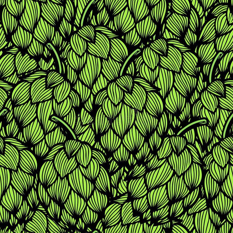 Άνευ ραφής σχέδιο με τους πράσινους λυκίσκους απεικόνιση αποθεμάτων