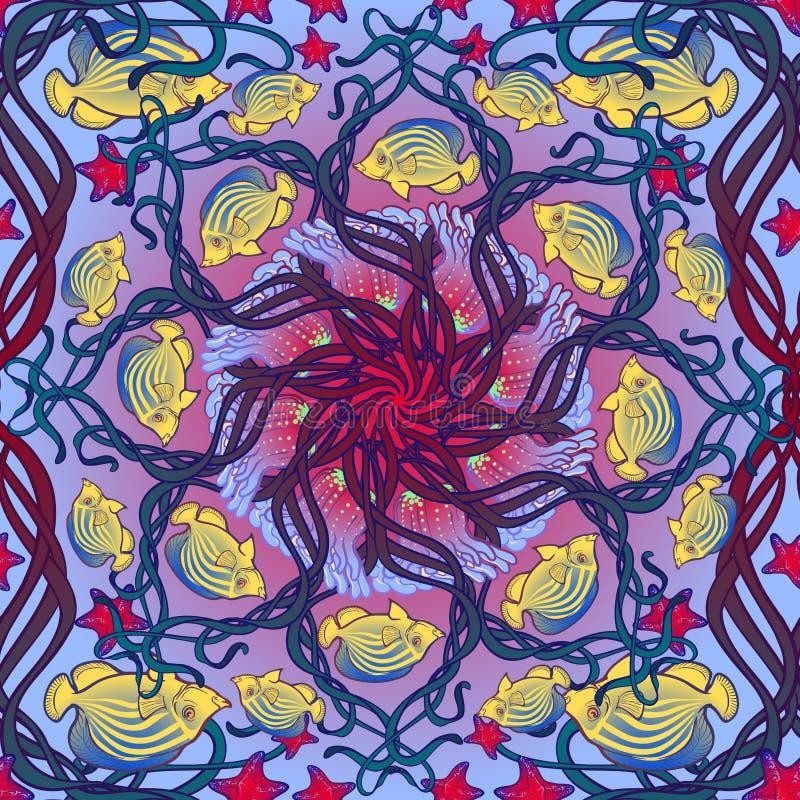 Άνευ ραφής σχέδιο με το ακτηνία polyp, το φύκι και άλλα πλάσματα θάλασσας στο ύφος Nouveau τέχνης απεικόνιση αποθεμάτων