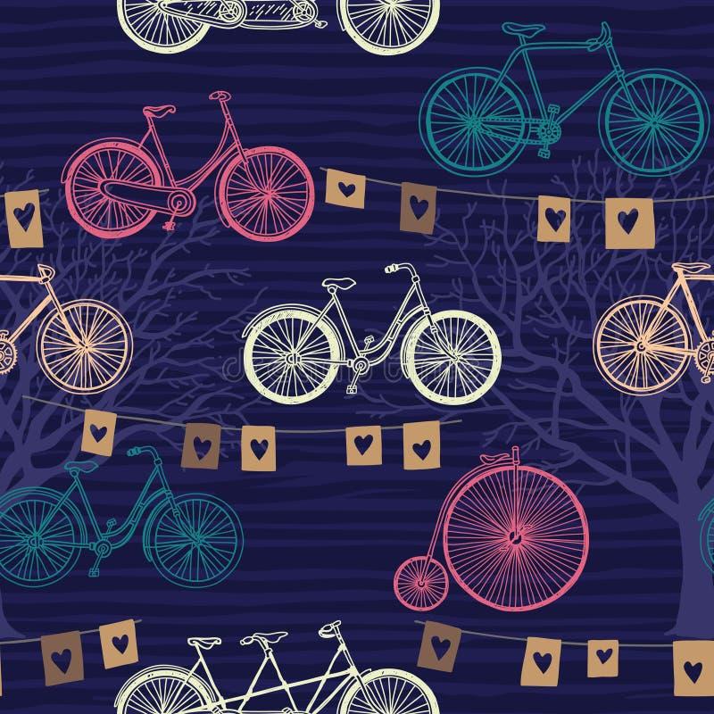 Άνευ ραφής σχέδιο με το αναδρομικό ποδήλατο βράδυ απεικόνιση αποθεμάτων