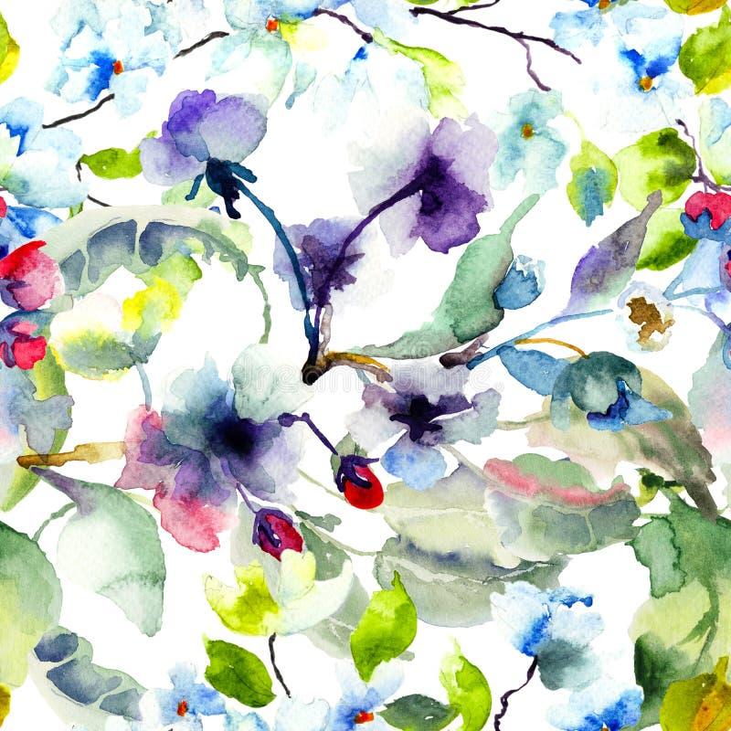 Άνευ ραφής σχέδιο με το ανθίζοντας δέντρο brunch διανυσματική απεικόνιση