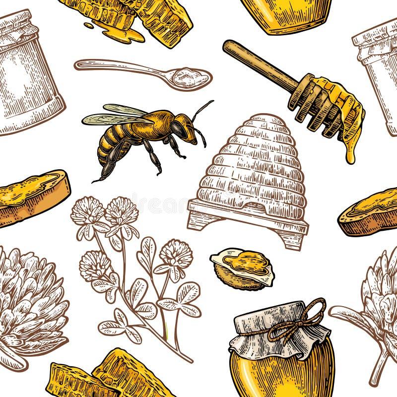 Άνευ ραφής σχέδιο με το μέλι, μέλισσα, κυψέλη, τριφύλλι, κουτάλι, κροτίδα, κηρήθρα διανυσματική απεικόνιση