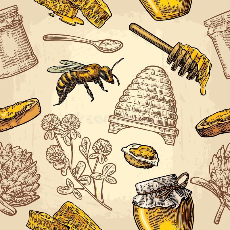 Άνευ ραφής σχέδιο με το μέλι, μέλισσα, κυψέλη, τριφύλλι, κουτάλι, κροτίδα, κηρήθρα ελεύθερη απεικόνιση δικαιώματος