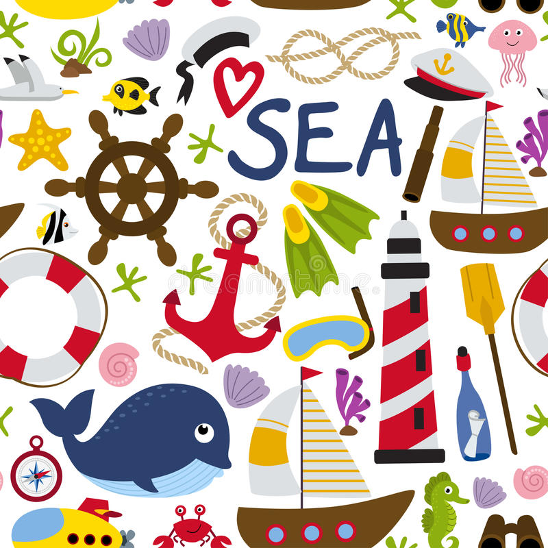 Άνευ ραφής σχέδιο με το ναυτικό στοιχείο διανυσματική απεικόνιση