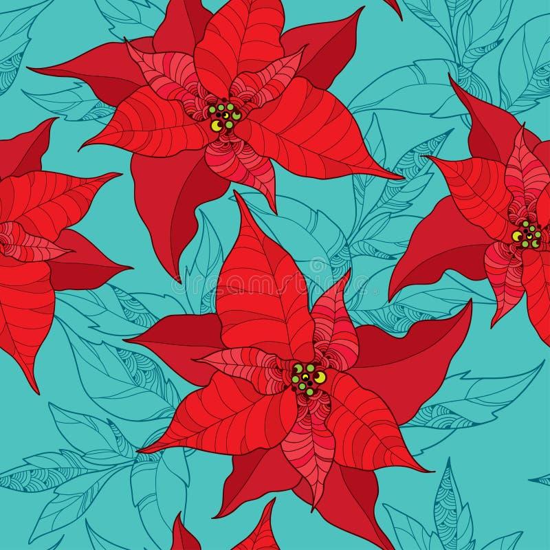 Άνευ ραφής σχέδιο με το λουλούδι Poinsettia ή αστέρι Χριστουγέννων στο κόκκινο στο τυρκουάζ υπόβαθρο r διανυσματική απεικόνιση