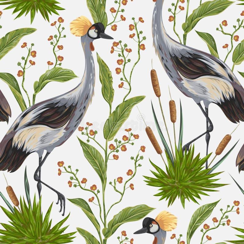 Άνευ ραφής σχέδιο με το πουλί γερανών και τις άγριες εγκαταστάσεις μοτίβο Ασιάτης απεικόνιση αποθεμάτων