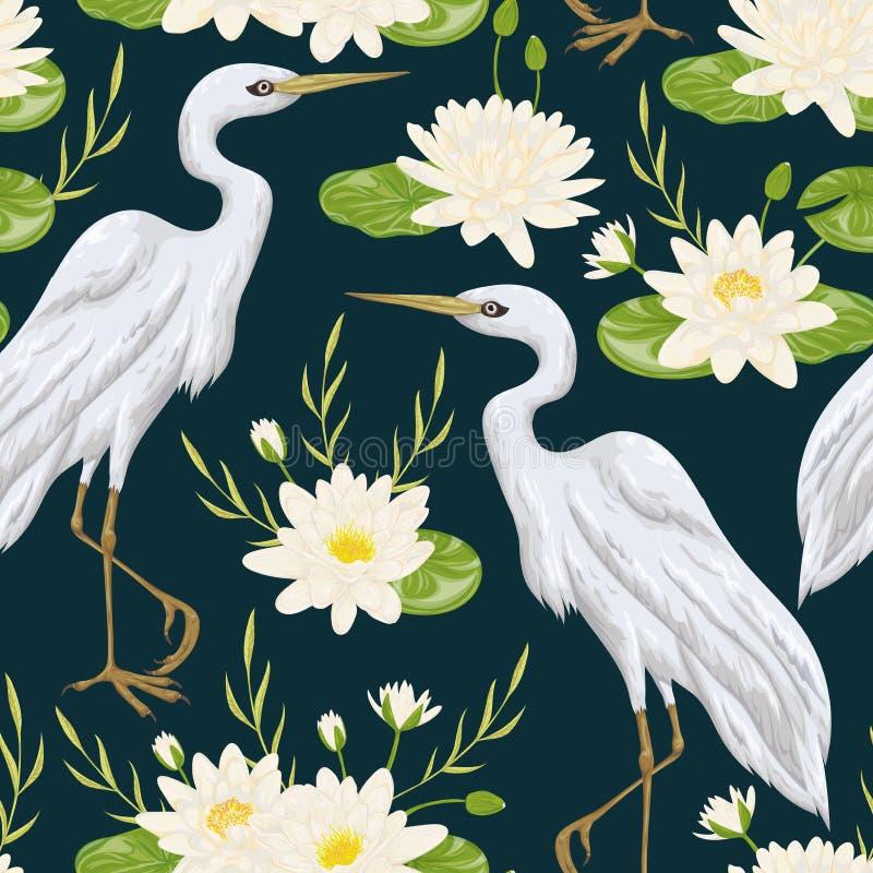 Άνευ ραφής σχέδιο με το πουλί ερωδιών και τον κρίνο νερού Χλωρίδα και πανίδα ελών διανυσματική απεικόνιση