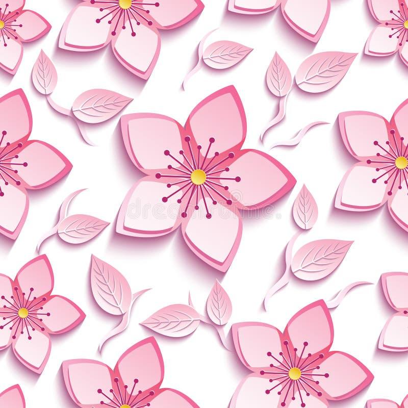 Άνευ ραφής σχέδιο με το ρόδινα sakura και τα φύλλα διανυσματική απεικόνιση