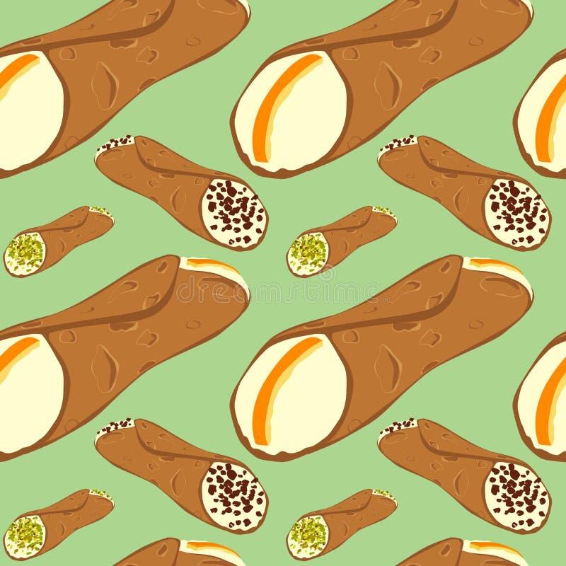 Άνευ ραφής σχέδιο με το σισιλιάνο cannoli επιδορπίων απεικόνιση αποθεμάτων