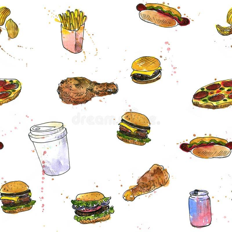 Άνευ ραφής σχέδιο με το σκίτσο γρήγορου φαγητού ελεύθερη απεικόνιση δικαιώματος