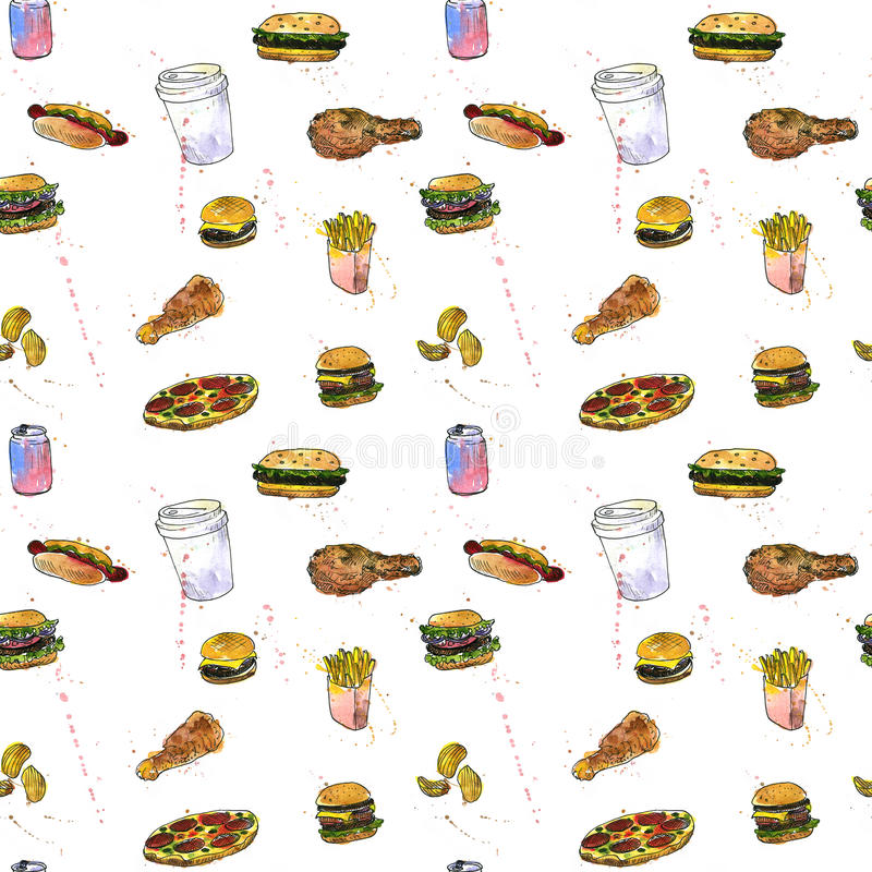 Άνευ ραφής σχέδιο με το σκίτσο γρήγορου φαγητού απεικόνιση αποθεμάτων