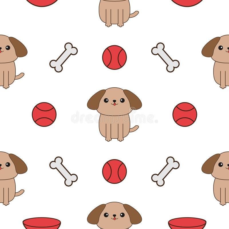 Άνευ ραφής σχέδιο με το σκυλί, κόκκαλο, πιάτο, παιχνίδι σφαιρών Χαριτωμένη σύσταση χαρακτήρα κατοικίδιων ζώων κινούμενων σχεδίων  ελεύθερη απεικόνιση δικαιώματος
