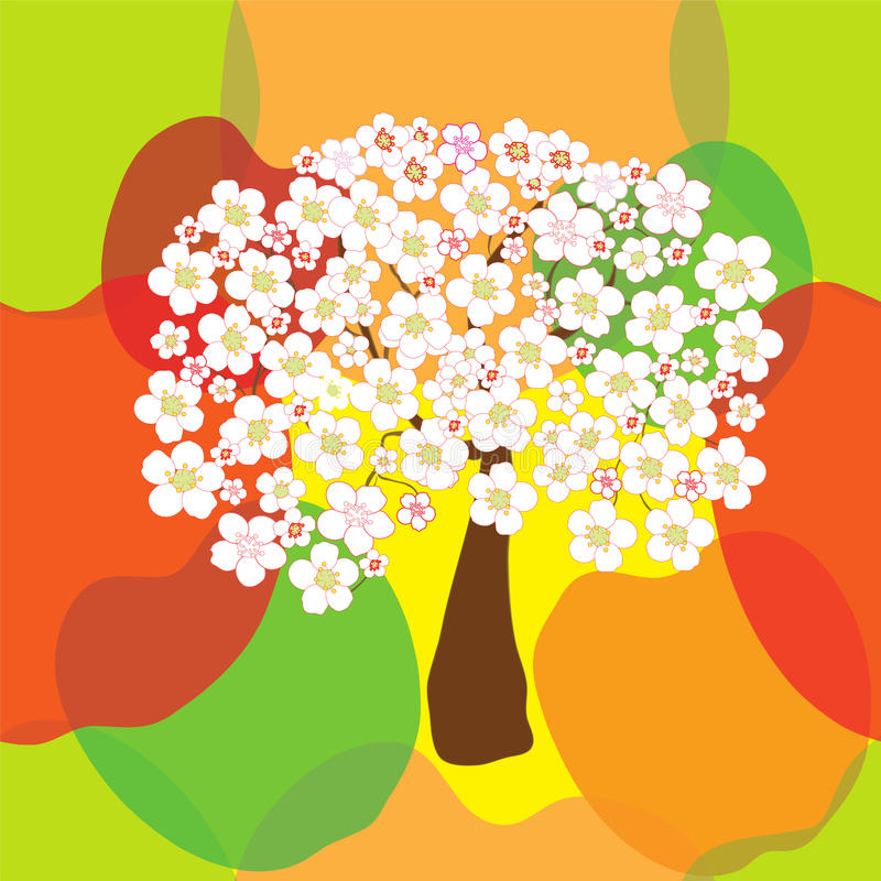 Άνευ ραφής σχέδιο με το τυποποιημένο ανθίζοντας δέντρο μηλιάς διανυσματική απεικόνιση