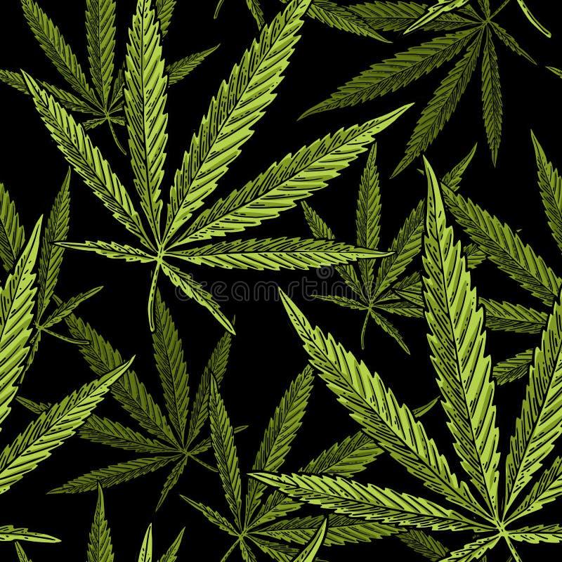 Άνευ ραφής σχέδιο με το φύλλο μαριχουάνα Εκλεκτής ποιότητας μαύρη απεικόνιση χάραξης διανυσματική απεικόνιση