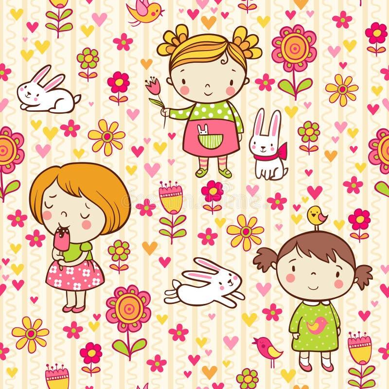 Άνευ ραφής σχέδιο με το κορίτσι, τα λουλούδια και bunnies ελεύθερη απεικόνιση δικαιώματος