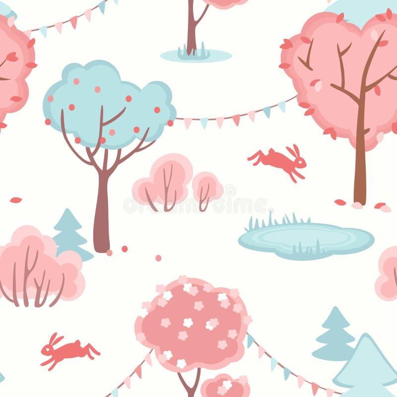 Άνευ ραφής σχέδιο με το χαριτωμένο δάσος της αγάπης ελεύθερη απεικόνιση δικαιώματος