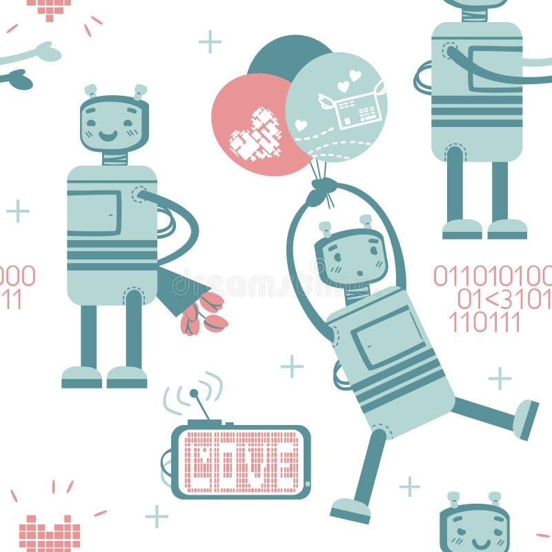 Άνευ ραφής σχέδιο με το χαριτωμένο ρομπότ ερωτευμένο απεικόνιση αποθεμάτων