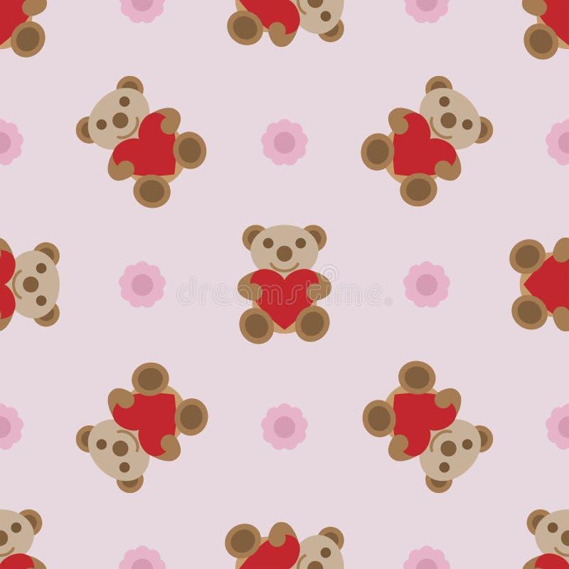 Άνευ ραφής σχέδιο με το teddy παιχνίδι αρκούδων και καρδιών απεικόνιση αποθεμάτων
