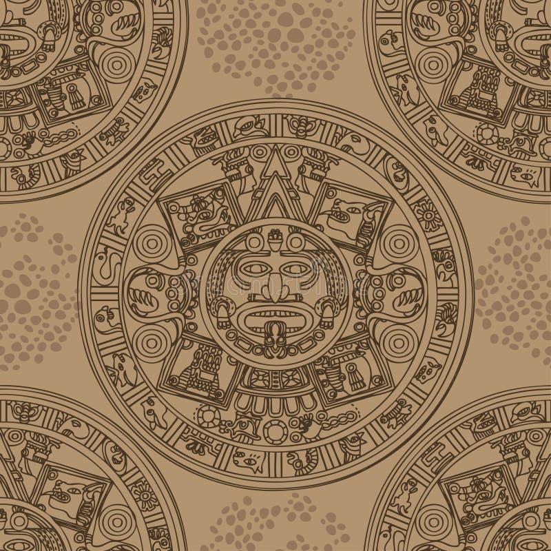 Άνευ ραφής σχέδιο με των Μάγια zodiac διανυσματική απεικόνιση