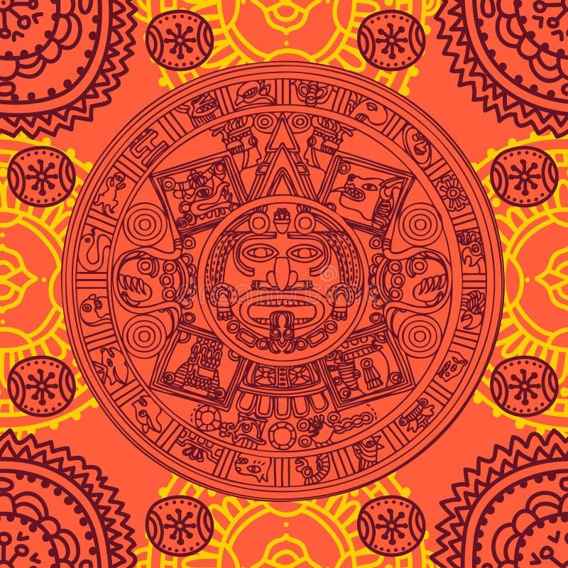 Άνευ ραφής σχέδιο με των Μάγια zodiac ελεύθερη απεικόνιση δικαιώματος