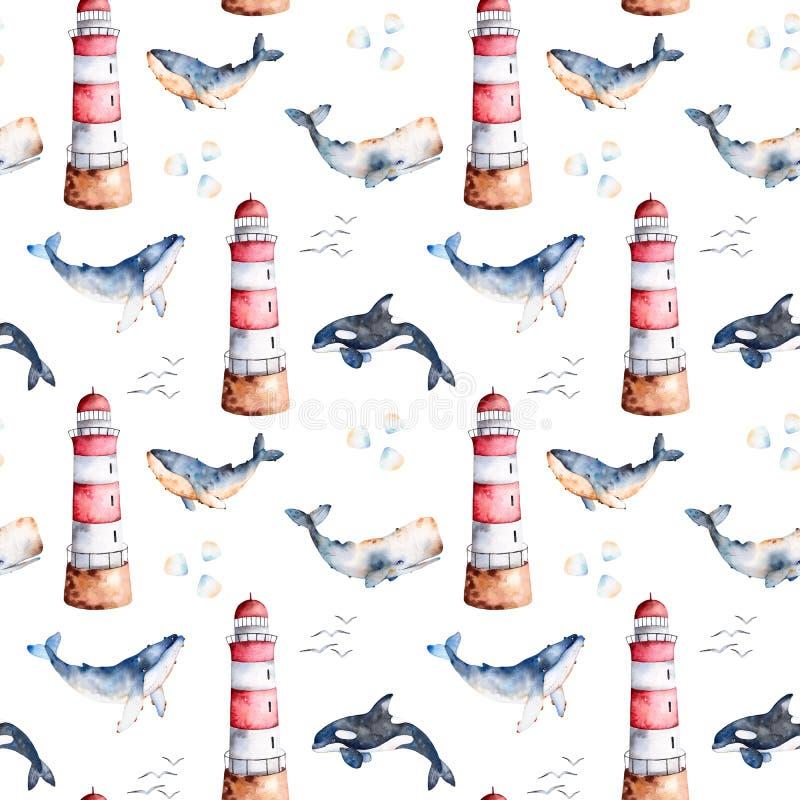 Άνευ ραφής σχέδιο με υψηλό - φάλαινες, θαλασσινά κοχύλια και φάρος ποιοτικού ζωγραφισμένες στο χέρι watercolor στα χρώματα κρητιδ διανυσματική απεικόνιση