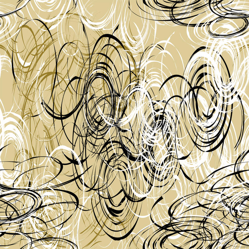 Άνευ ραφής σχέδιο με χαοτικά μαύρα, άσπρα, καφετιά ovals βουρτσών ελεύθερη απεικόνιση δικαιώματος
