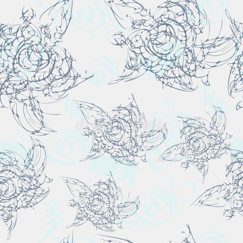 Άνευ ραφής σχέδιο με χρωματισμένο το χέρι λουλούδι διανυσματική απεικόνιση