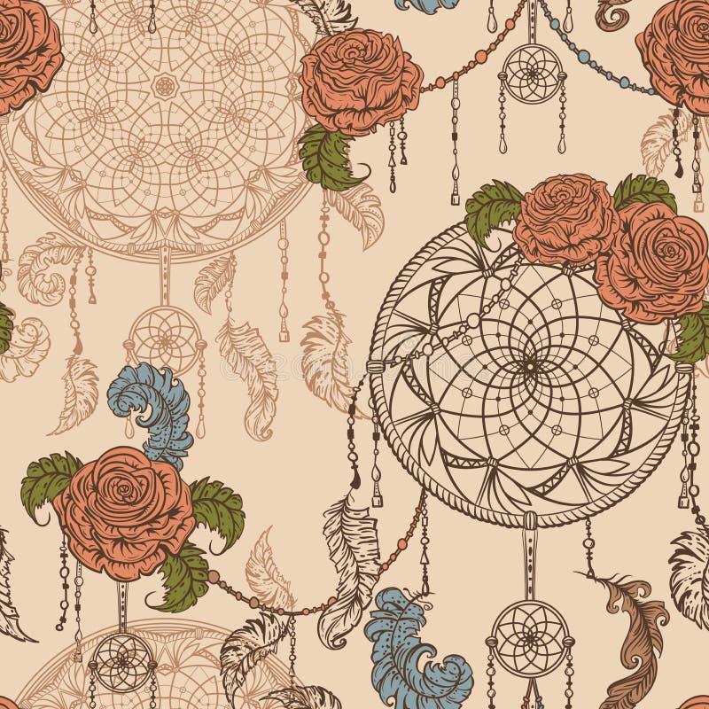Άνευ ραφής σχέδιο με catcher, τα τριαντάφυλλα, τα φύλλα και τα φτερά ονείρου απεικόνιση αποθεμάτων