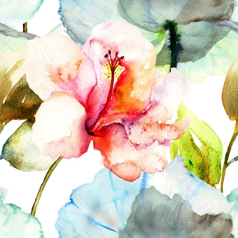 Άνευ ραφής σχέδιο με Hibiscus το λουλούδι ελεύθερη απεικόνιση δικαιώματος