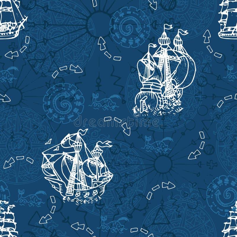 Άνευ ραφής σχέδιο με sailboats και πυξίδα αέρα στο μπλε διανυσματική απεικόνιση