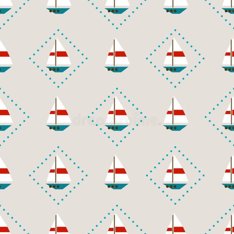 Άνευ ραφής σχέδιο με sailboats διανυσματική απεικόνιση