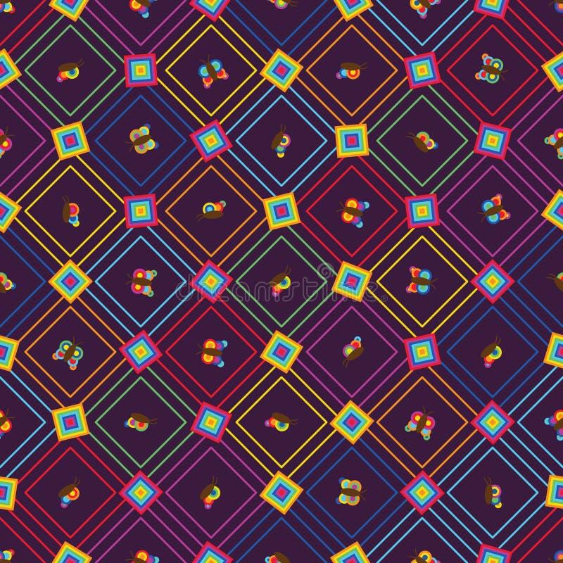 Άνευ ραφής σχέδιο μορφής διαμαντιών χρώματος ουράνιων τόξων πεταλούδων διανυσματική απεικόνιση