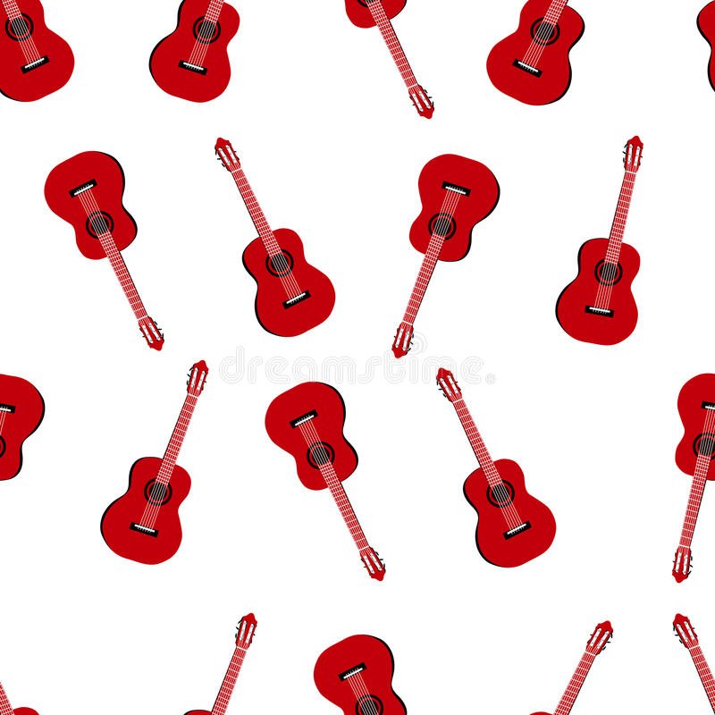 Άνευ ραφής σχέδιο μουσικής με την κόκκινη κλασική διανυσματική απεικόνιση κιθάρων διανυσματική απεικόνιση