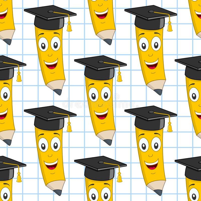 Άνευ ραφής σχέδιο μολυβιών καπέλων βαθμολόγησης απεικόνιση αποθεμάτων