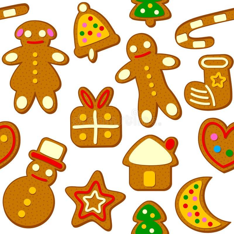 Άνευ ραφής σχέδιο μπισκότων Χριστουγέννων απεικόνιση αποθεμάτων
