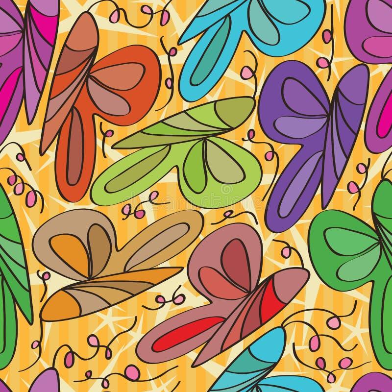 Άνευ ραφής σχέδιο μπουκλών πεταλούδων απεικόνιση αποθεμάτων