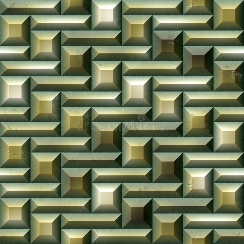 Άνευ ραφής σχέδιο μωσαϊκών των πράσινων και χρυσών κεραμιδιών απεικόνιση αποθεμάτων