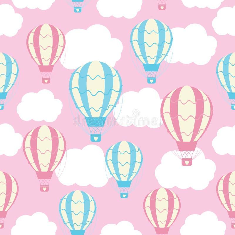 Άνευ ραφής σχέδιο ντους μωρών με τα χαριτωμένα μπαλόνια ζεστού αέρα στο ρόδινο ουρανό απεικόνιση αποθεμάτων