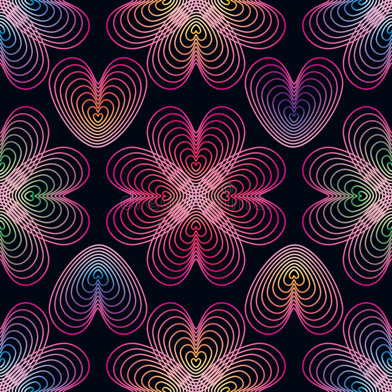 Άνευ ραφής σχέδιο ομάδας γραμμών αγάπης διανυσματική απεικόνιση